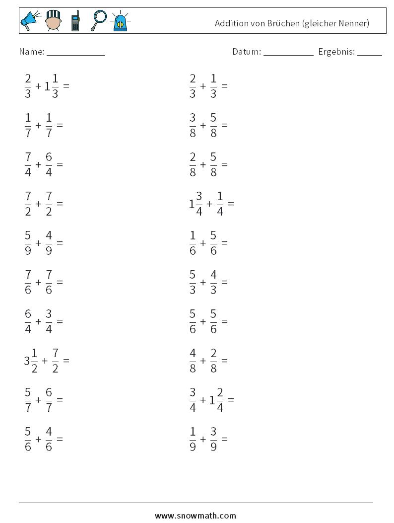 20 addition von brüchen gleicher nenner Mathe Arbeitsblätter ...
