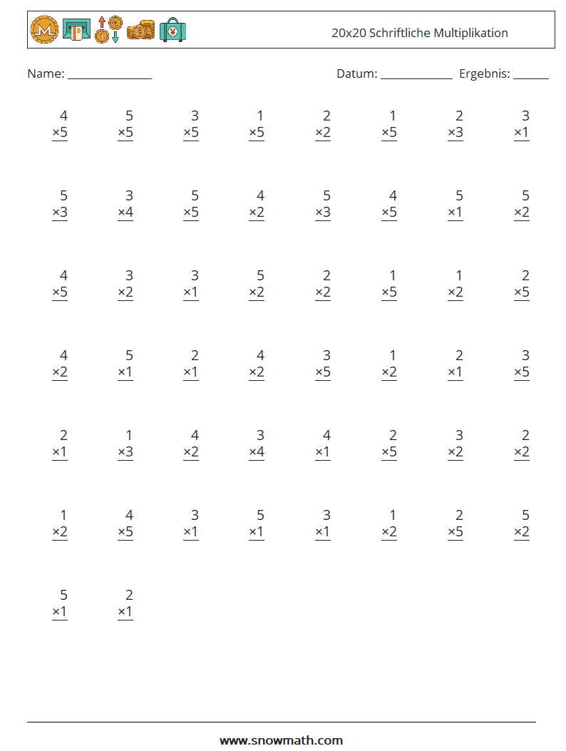 20 20x20 schriftliche multiplikation Mathe Arbeitsblätter, Mathe ...